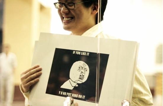 Unusual Proposal #3, Tim Tiah with Internet Meme flash cards!